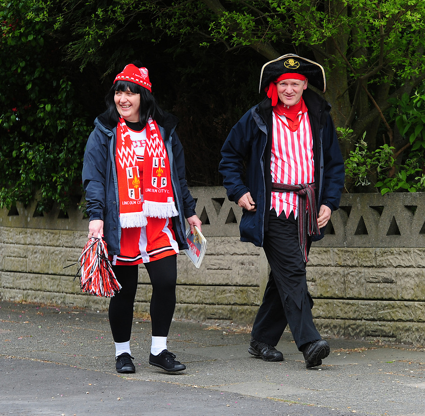 Lincoln City fans arrive in fancy dress for the game<br /> <br /> Photographer Andrew Vaughan/CameraSport<br /> <br /> Vanarama National League - Southport v Lincoln City - Saturday 29th April 2017 - Merseyrail Community Stadium - Southport<br /> <br /> World Copyright &copy; 2017 CameraSport. All rights reserved. 43 Linden Ave. Countesthorpe. Leicester. England. LE8 5PG - Tel: +44 (0) 116 277 4147 - admin@camerasport.com - www.camerasport.com