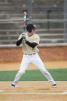 Kevin Conway (7) of the Wake Forest Demon Deacons at bat against the Harvard Crimson at David F. Couch Ballpark on March 5, 2016 in Winston-Salem, North Carolina.  The Crimson defeated the Demon Deacons 6-3.  (Brian Westerholt/Four Seam Images)