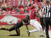 Hawgs Illustrated/BEN GOFF <br /> Brandon Martin, Arkansas wide receiver, gets pressured out of bounds by Adam Sparks, Missouri cornerback, after a catch in the third quarter Friday, Nov. 24, 2017, at Reynolds Razorback Stadium in Fayetteville.