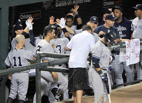 New York Yankees celebrate Alex Rodriguez (13) seventh inning home run against the Baltimore Orioles at Oriole Park at Camden Yards in Baltimore, MD on Friday, August 26, 2011.  The Orioles won the game 12 - 5..Credit: Ron Sachs / CNP.(RESTRICTION: NO New York or New Jersey Newspapers or newspapers within a 75 mile radius of New York City)