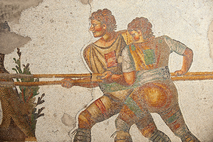 6th century Byzantine Roman mosaics of a hunters from the peristyle of the Great Palace from the reign of Emperor Justinian I. Istanbul, Turkey.