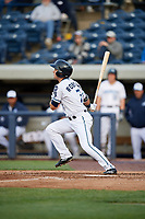 West Michigan Whitecaps center fielder Jacob Robson (7) follows through on a swing during a game against the Clinton LumberKings on May 3, 2017 at Fifth Third Ballpark in Comstock Park, Michigan.  West Michigan defeated Clinton 3-2.  (Mike Janes/Four Seam Images)