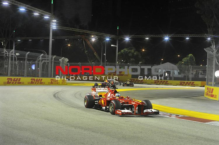 19.-22.09.2013, Marina-Bay-Street-Circuit, Singapur, SIN, F1, Grosser Preis von Singapur, Singapur, DHL Branding - Fernando Alonso (ESP),  Scuderia Ferrari <br />  Foto &copy; nph / Mathis