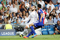 Nacho of Real Madrid and Behrang Safari of FC Basel 1893 during the Champions League group B soccer match between Real Madrid and FC Basel 1893 at Santiago Bernabeu Stadium in Madrid, Spain. September 16, 2014. (ALTERPHOTOS/Caro Marin) /NortePhoto.com