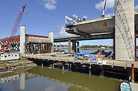 Pearl Harbor Memorial Bridge, New Haven Harbor Crossing Corridor, Interstate 95 in CT. Construction of Connecticut Department of Transportation Contract B as seen on September 9, 2011. New Northbound Span, Progress of the Replacement Bridge. When complete this will be the first Extradosed Bridge in the United States. This view includes Traveling Formwork and West Tower.