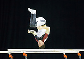 21st March 2018, Arena Birmingham, Birmingham, England; Gymnastics World Cup, day one, mens competition; Marcel Nguyen (GER) on the parallel Bars during the warm up before the competition