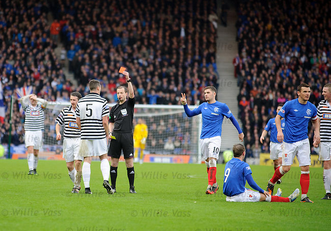 Ref Willie Collum sends off James Brough