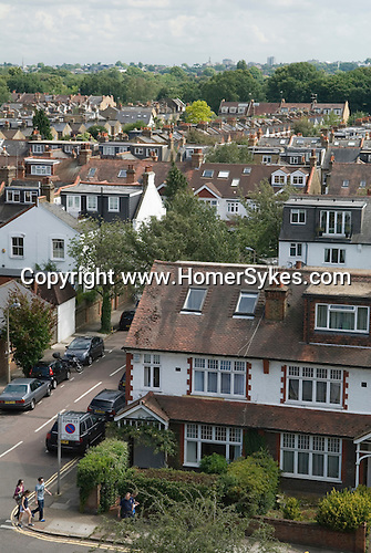 Barnes southwest London Uk. Housing rooftops. Church road.