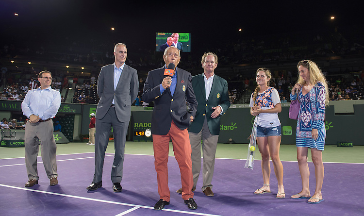 KEY BISCAYNE, FL - March 26: Nick Bolletieri receives his International Tennis Hall of Fame ring at a ceremony commemorating a lifetime of Tennis achievement. The ceremony was being held at the 2015 Miami Open in Key Biscayne, Florida.   <br /> <br /> Photographer Andrew Patron - CameraSport/BigShots<br /> <br /> Tennis - 2015 Miami Open presented by Itau - Crandon Park Tennis Center - Key Biscayne, Florida - USA - Day 4, Thursday 26th March 2015<br /> <br /> &copy; CameraSport - 43 Linden Ave. Countesthorpe. Leicester. England. LE8 5PG - Tel: +44 (0) 116 277 4147 - admin@camerasport.com - www.camerasport.com