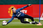 David De Gea of Manchester United makes a save during the Manchester United open training session at the Carrington Training Centre, Manchester. Picture date: May 19th 2017. <br /> Pic credit should read: Matt McNulty/Sportimage