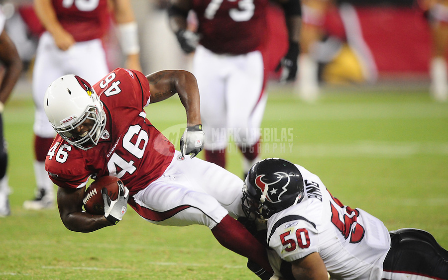 Aug. 14, 2010; Glendale, AZ, USA; Arizona Cardinals running back (46) Alfonso Smith against the Houston Texans at University of Phoenix Stadium. Arizona defeated Houston 19-16. Mandatory Credit: Mark J. Rebilas-