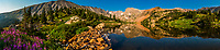 Panoramic view of Lake Isabelle at 11,000 feet in the Indian Peaks Wilderness Area, near Ward, Colorado USA.