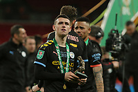 Phil Foden of Manchester City with his man of the match award. Aston Villa vs Manchester City, Caraboa Cup Final Football at Wembley Stadium on 1st March 2020