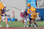 Costa Mesa, CA 03/08/14 - Phil Hughes (LMU #13) and David Abady (UCSB #25) in action during the MCLA Loyola Marymount vs UC Santa Barbara men's lacrosse game as part of the 2014 Pacific Shootout.  UCSB defeated LMU 12-7 at Le Bard Stadium.