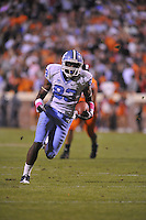 16 October 2010:  North Carolina WR Dwight Jones (83) caught 7 passes for 199 yards and 2 touchdowns.  The North Carolina Tar Heels defeated the Virginia Cavaliers 44-10 at Scott Stadium in Charlottesville, VA.