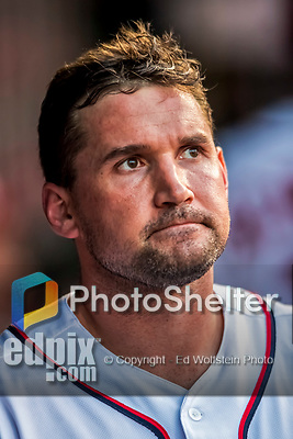 7 October 2017: Washington Nationals first baseman Ryan Zimmerman looks out from the dugout during the second NLDS game against the Chicago Cubs at Nationals Park in Washington, DC. The Nationals defeated the Cubs 6-3 and even their best of five Postseason series at one game apiece. Mandatory Credit: Ed Wolfstein Photo *** RAW (NEF) Image File Available ***