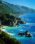View of McWay Cove and the southern Big Sur Coast viewed from Partington Point along Highway 1. Monterey County, CA.