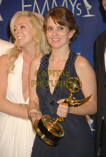 TINA FEY (winner of best Comedy series - 30 Rock).Press room at the 59th Annual Primetime Emmy Awards held at the Shrine Auditorium, Los Angeles, California, USA..September 16th, 2007.half length black dress beads  award trophy .CAP/ADM/BP.©Byron Purvis/AdMedia/Capital Pictures.