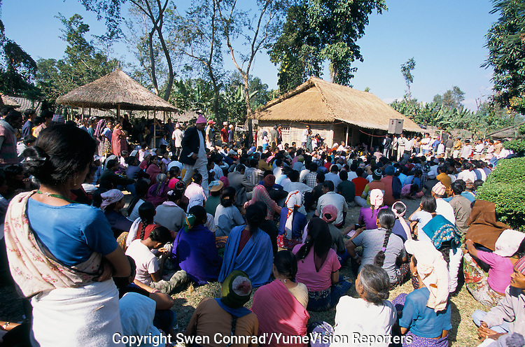 Under UNHCR surveillance, an official delegation from the Bhutanese government recently visited Khudanabari camp (near Damak, Nepal) to inform the refugees: If you ever return to the Royal Kingdom, lands will not be available for reclaim and employment will be only available as construction workers..-The full text reportage is available on request in Word format