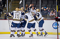ND celebrates after an apparent first period score, but the goal was nullified.
