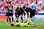 Marko Dmitrovic of SD Eibar (L) lies injured during the La Liga match between Atletico Madrid and Eibar at Wanda Metropolitano Stadium on May 20, 2018 in Madrid, Spain. Photo by Diego Souto / Power Sport Images