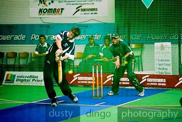 South Africa Under 19 Boys (batting) vs Australia.<br /> 2003 Indoor Cricket World Under 19 Championships, Christchurch, New Zealand