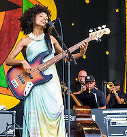 Esperanza Spalding performing at the 2012 Jazz and Heritage Festival on May 2, 2012.  © HIGH ISO Music, LLC / Retna Ltd.