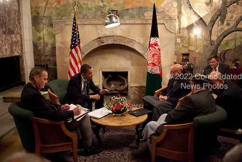 United States President Barack Obama meets with Afghanistan President Hamid Karzai at the Presidential Palace in Kabul, Afghanistan, Sunday, March 28, 2010. .Mandatory Credit: Pete Souza - White House via CNP