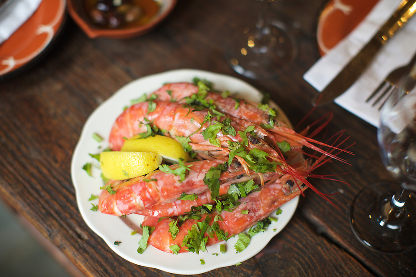 Jersey City, NJ - May 13, 2016: Prawns at Broa Cafe, serving classic Portuguese cuisine on Grove Street. <br /> <br /> CREDIT: Clay Williams for Gothamist.<br /> <br /> &copy; Clay Williams / claywilliamsphoto.com