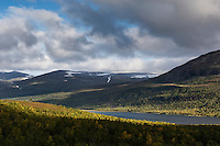 Autumn colored landscape above lake Teusjaure, Kungsleden trail, Lapland, Sweden