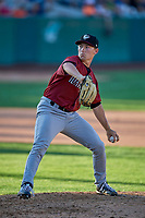 Austin Manning (9) of the Idaho Falls Chukars delivers a pitch to the plate against the Ogden Raptors at Lindquist Field on August 9, 2019 in Ogden, Utah. The Raptors defeated the Chukars 8-3. (Stephen Smith/Four Seam Images)