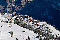 Small alpine village of Mürren covered in seasons first snow, Switzerland