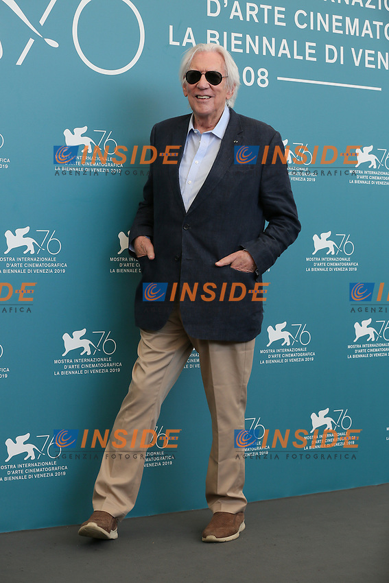 "VENICE, ITALY - SEPTEMBER 07: Donald Sutherland attends ""The Burnt Orange Heresy"" photocall during the 76th Venice Film Festival at Sala Grande on September 07, 2019 in Venice, Italy. (Photo by Mark Cape/Insidefoto)<br /> Venezia 07/09/2019"