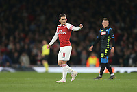 Arsenal's Lucas Torreira celebrates scoring his side's second goal <br /> <br /> Photographer Rob Newell/CameraSport<br /> <br /> UEFA Europa League First Leg - Arsenal v Napoli - Thursday 11th April 2019 - The Emirates - London<br />  <br /> World Copyright © 2018 CameraSport. All rights reserved. 43 Linden Ave. Countesthorpe. Leicester. England. LE8 5PG - Tel: +44 (0) 116 277 4147 - admin@camerasport.com - www.camerasport.com