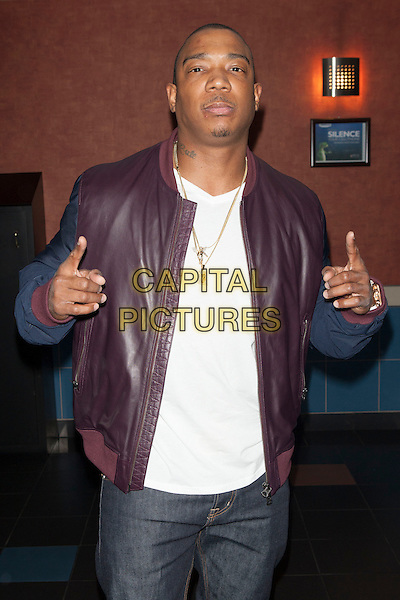 Jeffrey 'Ja Rule' Atkins <br /> attends the  screening of 'I'm in Love with a Church Girl' at Regal E-Walk Stadium 13 and RPX  Cinemas,  New York City, NY., USA.<br /> October 18th, 2013<br /> half length goatee facial hair white top hands arms gold necklace maroon leather jacket<br /> CAP/MPI/COR<br /> &copy;Corredor99/ MediaPunch/Capital Pictures