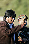 &copy;PATRICIO CROOKER<br /> Tarija, Bolivia<br /> A picture dated Saturday, July 8, 2006 shows Bolivian President Evo Morales talking with the Commander of the School of Bolivian Commandos, Colonel Ari&ntilde;ez in a ceremony in the southeast region of Bolivia.