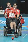 November 14 2011 - Guadalajara, Mexico: Keven Smith-Worthylake during a Boccia mathch at the 2011 Parapan American Games in Guadalajara, Mexico.  Photos: Matthew Murnaghan/Canadian Paralympic Committee