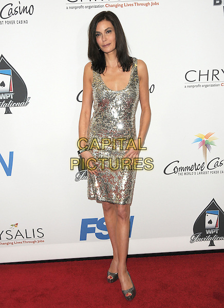 TERI HATCHER .The World Poker Tour Celebrity Invitational Tournament held at The Commerce Casino in The City of Commerce, California, USA..February 20th, 2010              .full length dress silver sequins sequined                                                     .CAP/RKE/DVS.©DVS/RockinExposures/Capital Pictures.