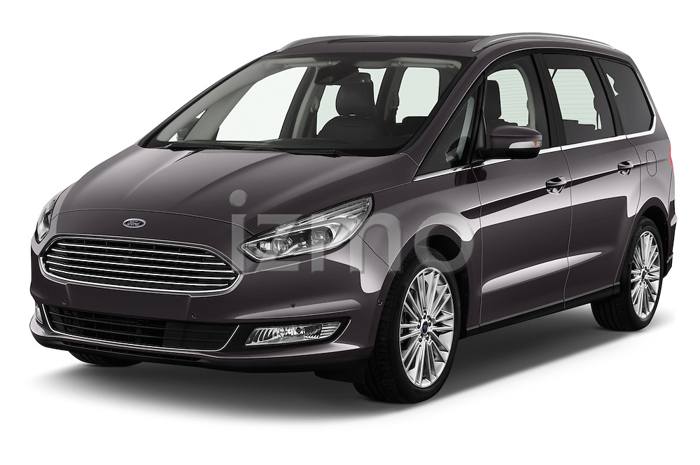 2016 Ford Galaxy Titanium 5 Door Minivan Angular Front stock photos of front three quarter view