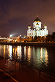 RUSSIA, Moscow. View of the Cathedral of Christ the Saviour and Moscow River at night.