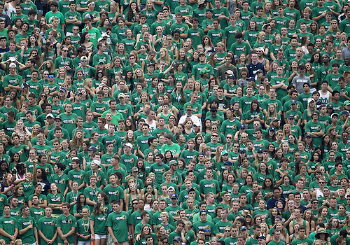 August 31, 2013:  Notre Dame student section during NCAA Football game action between the Notre Dame Fighting Irish and the Temple Owls at Notre Dame Stadium in South Bend, Indiana.  Notre Dame defeated Temple 28-6.