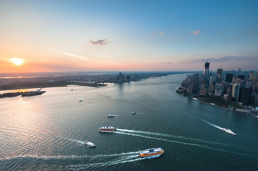 Aerial view of sunset over New York Harbor in New York City.