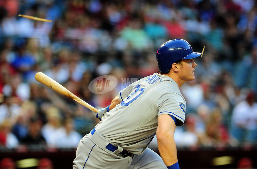 May 21, 2012; Phoenix, AZ, USA; Los Angeles Dodgers outfielder Jerry Sands breaks a bat as he hits a second inning single against the Los Angeles Dodgers at Chase Field.  Mandatory Credit: Mark J. Rebilas-