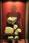 Ggantija temples visitor centre display museum,  Gozo, Malta, fragments of Fat Lady goddess stone figure