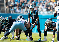 CHARLOTTE, NC - NOVEMBER 3: Kyle Allen #7 of the Carolina Panthers leads the Panthers during a game between Tennessee Titans and Carolina Panthers at Bank of America Stadium on November 3, 2019 in Charlotte, North Carolina.