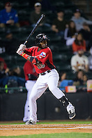 Travis Demeritte (25) of the Hickory Crawdads at bat against the Kannapolis Intimidators at L.P. Frans Stadium on April 23, 2015 in Hickory, North Carolina.  The Crawdads defeated the Intimidators 3-2 in 10 innings.  (Brian Westerholt/Four Seam Images)