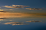 Dawn reflects over the Salar de Uyuni (salt flat)