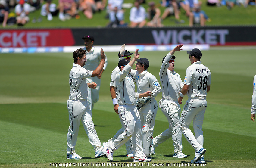 NZ's Colin de Grandhomme celebrates dismissing England's Dom Sibley during day one of the international cricket 1st test match between NZ Black Caps and England at Bay Oval in Mount Maunganui, New Zealand on Thursday, 21 November 2019. Photo: Dave Lintott / lintottphoto.co.nz