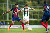 HAREN - Voetbal, FC Groningen - SM Caen, voorbereiding seizoen 2018-2019, 04-08-2018, FC Groningen speler Ajdin Hrustic met Ronny Rodelin