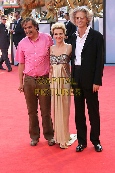 """PAULO BRANCO, JULIETTE BINOCHE & SANTIAGO AMIGORENA.""""Quelques Jours En Septembre"""" Premiere during the 63rd Annual Venice Film Festival, Lido, Italy, .01 September 2006..full length red carpet gold satin beaded dress brown jewel encrusted.Ref: ADM/ZL.www.capitalpictures.com.sales@capitalpictures.com.©Zach Lipp/AdMedia/Capital Pictures."""